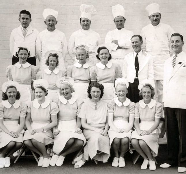 Vintage photo of Lawry's chefs and servers.